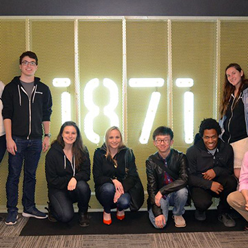 Group of Students from Northwestern at 1871, a co-working center for digital startups.