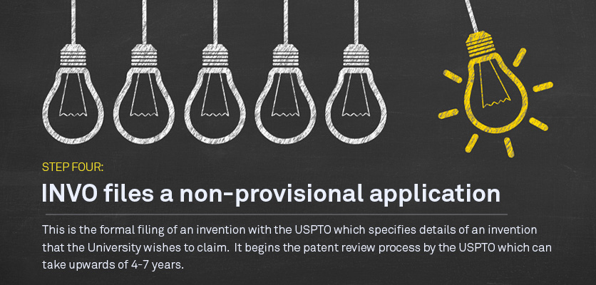 Step Four: INVO may file a non-provisional application This is the formal filing of an invention with the USPTO; it may mature into an issued patent.